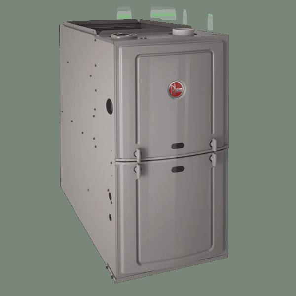 Rheem R801P upflow/horizontal gas furnace.