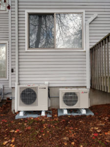 Mitsubishi Ductless and Sanden Heat Pump Water Heater ground mounted-1025