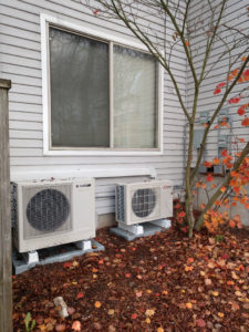 Mitsubishi Ductless and Sanden Heat Pump Water Heater ground mounted 2-1025