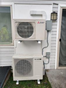 Mitsubishi Ductless and Sanden Watre Heater Bracket mounted on AZEK board 2-1025