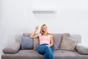 turning on a ductless system.